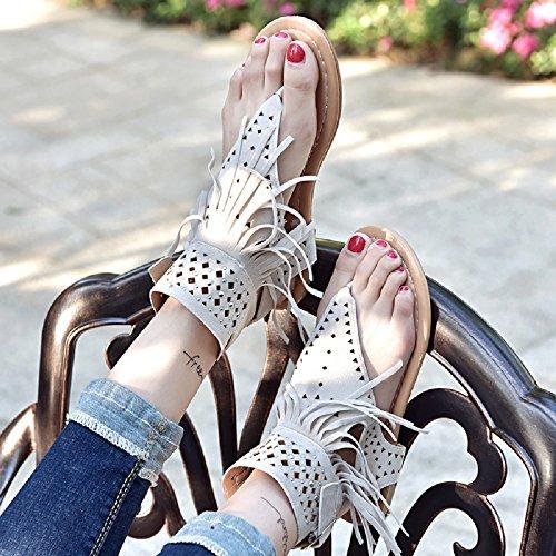 Tacon Plataforma Diamante Bohemias Zapatos 35 Beige Chanclas Flip Beige Verano 44 Sandalias Romanas Cuña Gladiador Negro Mares Planas Borla Mujer Flop UOvqW7wS
