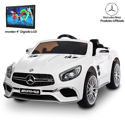 Bakaji coche máquina eléctrica para niños Mercedes SL65 AMG 12 V Color Blanco con faros