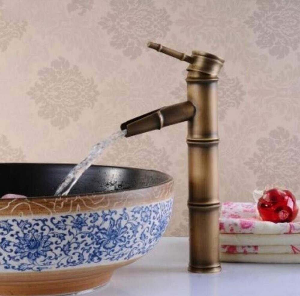 Kitchen Brass Hot and Cold Water Faucet Washbasin Mixer Waterfall Faucet Lavatory Vessel Sink Vanity Top Mixer Tap Hot and Cold Water