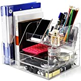 DYCacrlic Multi-function Desk Organizer for Office/School/Home Accessories Organization,Acrylic,Clear Desk File Organizer Large Storage For Women Student Office Wokers