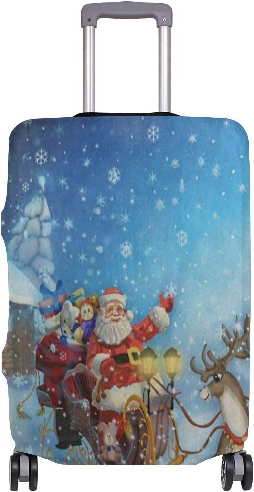 Suitcase Cover Santa Clau And Deer Luggage Cover Travel Case Bag Protector for Kid Girls