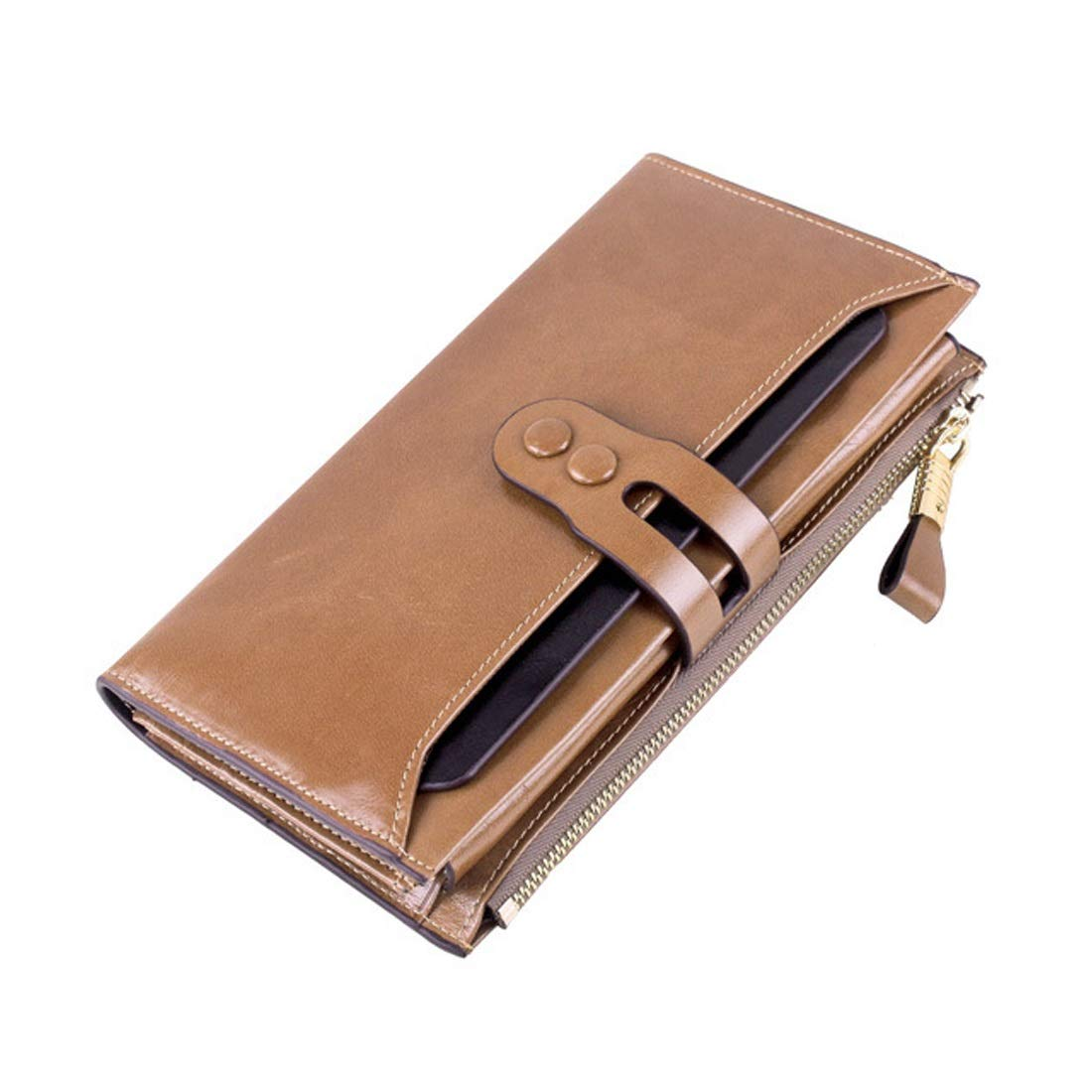 Professional Bag Long Wallet Unisex Zipper Wallet Fashion Large Capacity Folding Wallet Leather Cowhide Multicolor Available Select. Outdoor Travel Essentials (color   Beige)