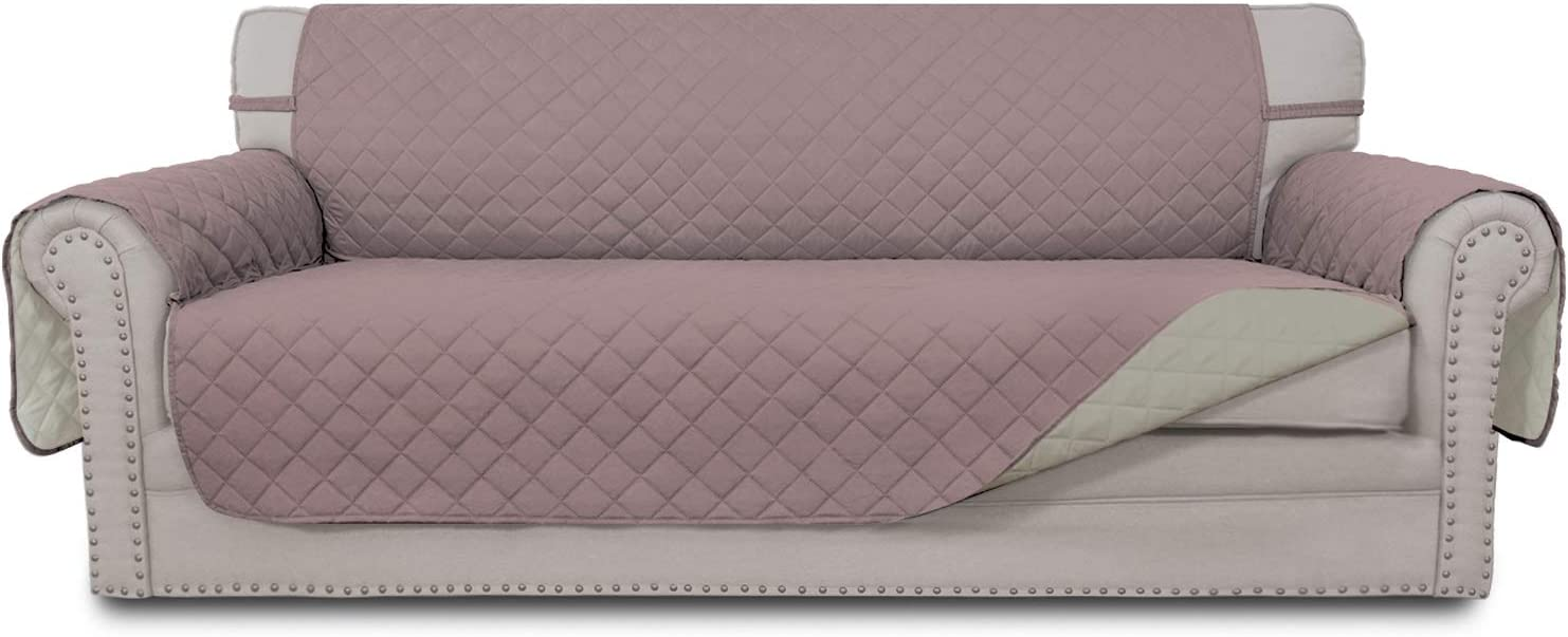 Easy-Going 4 Seater Sofa Slipcover Reversible Sofa Cover Water Resistant Couch Cover with Foam Sticks Elastic Straps Furniture Protector for PetsKidsChildrenDogCat(XX-Large,Pink/Beige)
