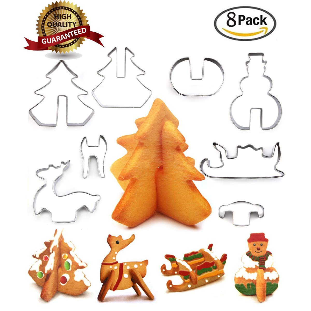 Christmas Stainless Steel 3D Cookie Cutters Set Cookies Molds – 8 piece- Christmas tree, Santa Claus, Sika deer, Skiing. SUPER-TECH