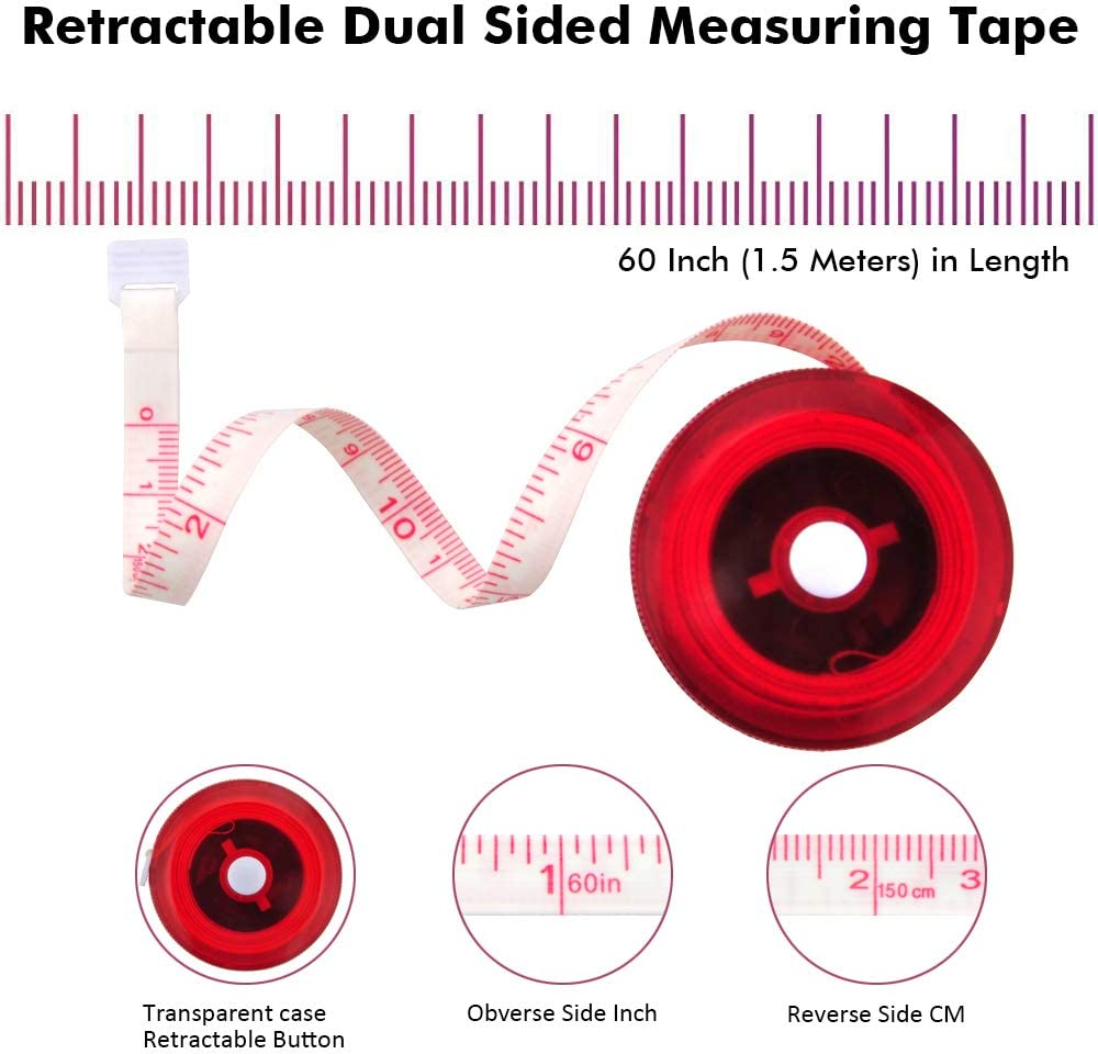 Tape Measure for Body Sewing Fabric Tailor Cloth Craft Medical Measurement Tape,60 Inch//1.5M Dual Sided Sewing Measure Tape Set Edtape 2PCS Transparent Measuring Tape for Body