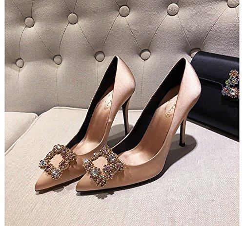 Tacones señaló talones Zapatos hebilla femeninos 5cm boca GAIHU Rhinestone 8 los Satin superficial Champán 6 cuadrada salvajes 5cm Champagne8 altos singles 5cm cena Hvwdq8w