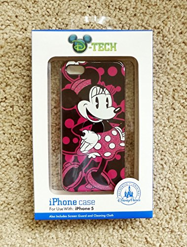 (Disney D-tech World WDW Parks Authentic Pink & Black Fashionable Miss Minnie Mouse Iphone 5 Phone Hard Case & Screen Guard Cleaning Cloth)
