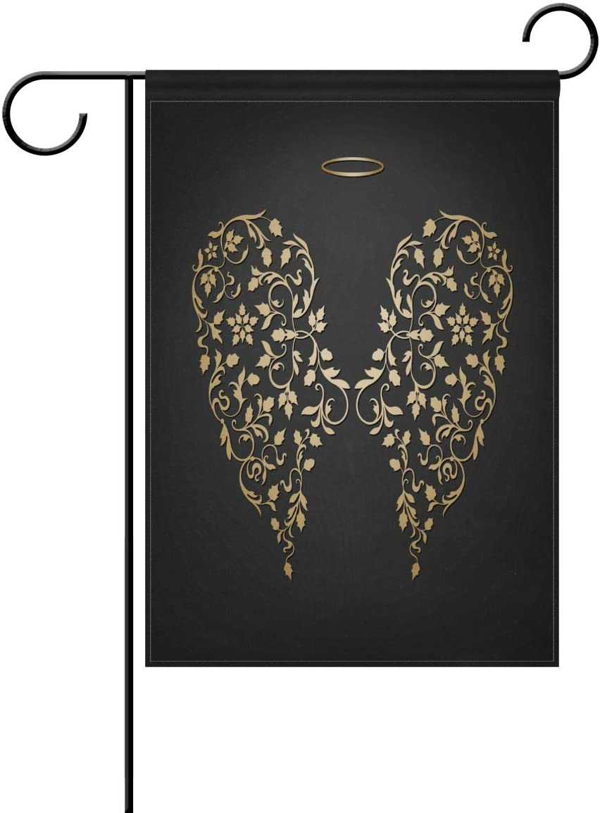 OPRINT Elegant Angel Golden Wings and Halo Garden Flag Banner 12 x 18 Inch Double Sided Polyester Home Decor