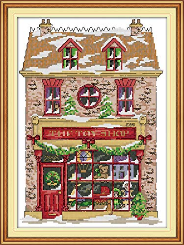 YEESAM ART New Cross Stitch Kits Advanced Patterns for Beginners Kids Adults - Christmas Toy House - DIY Needlework Wedding Christmas Gifts (House, - Van Catalog