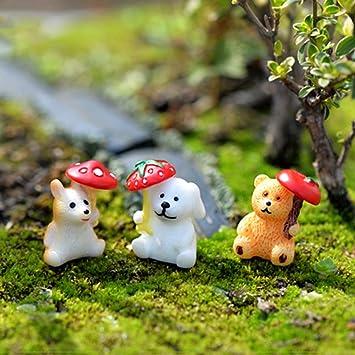 Adornos de animales – 1 miniadorno de animales de dibujos animados para decoración de mesa, decoración de jardín, adorno de resina kawaii – Adornos en miniatura para jardín o árbol de Navidad: