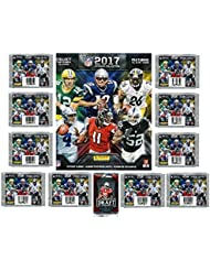 2017 Panini NFL Football Stickers Special Collectors Package with 80 Brand New MINT Stickers & HUGE 72 Page Color Collectors Album! Plus Special BONUS of FIVE(5) 2016 Leaf Football ROOKIES! WOWZZER!