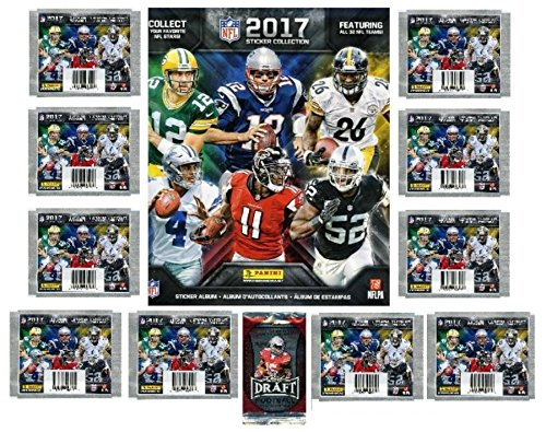Stickers Nfl (2017 Panini NFL Football Stickers Special Collectors Package with 80 Brand New MINT Stickers & HUGE 72 Page Color Collectors Album! Plus Special BONUS of FIVE(5) 2016 Leaf Football ROOKIES! WOWZZER!)