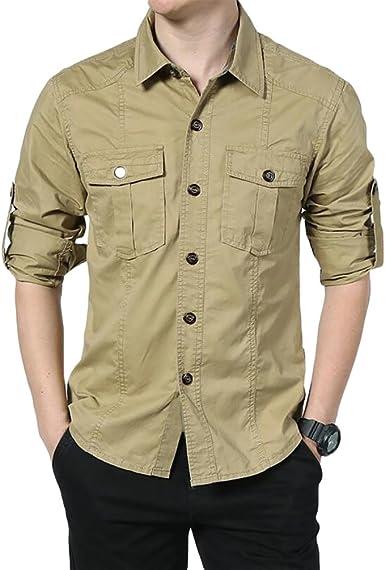 Baymate Camisa Casual De Manga Larga para Hombre Outdoor Tops con Bolsillo: Amazon.es: Ropa y accesorios