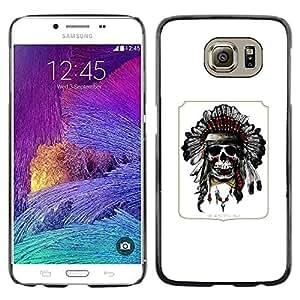 LECELL--Funda protectora / Cubierta / Piel For Samsung Galaxy S6 SM-G920 -- Indian Poster Native American Skull --