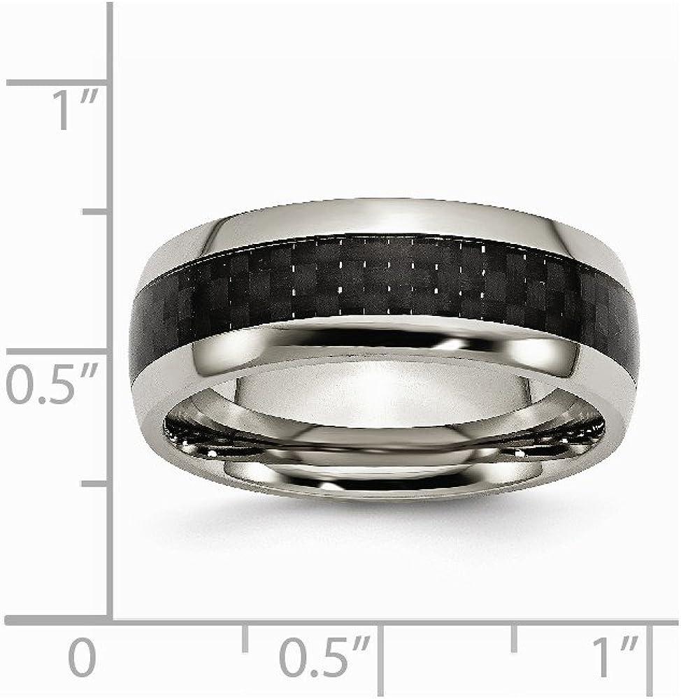 Brilliant Bijou Titanium Polished w//Black Carbon Fiber Inlay 8mm Band