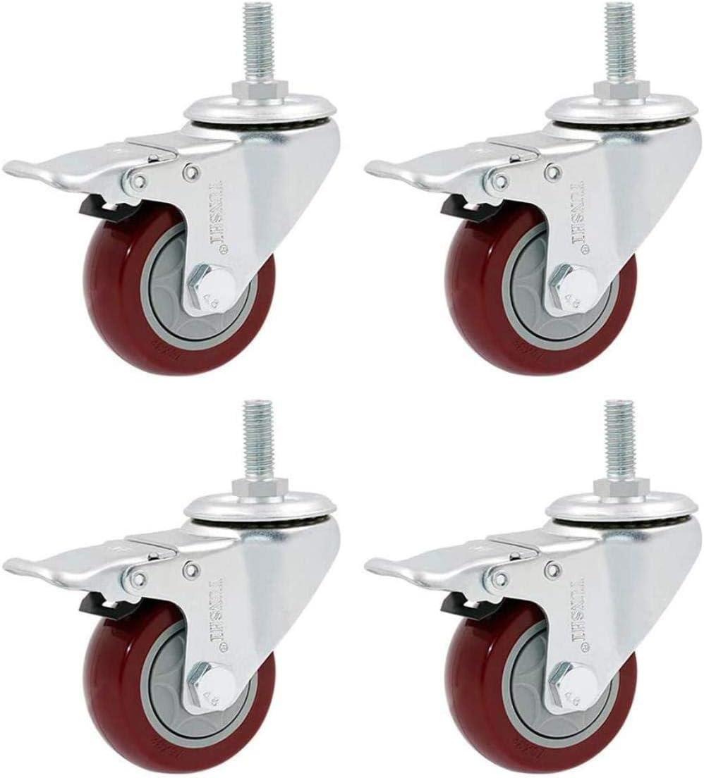 Office Chair Caster Wheels FANYF M12 Red Castor Wheel Furniture Swivel Casters Load 300kg,2 No Brake+2 Brake,4in(100mm) Set Of 4 /Φ3 // 4 // 5in Industrial Heavy Duty Caster-with Brake
