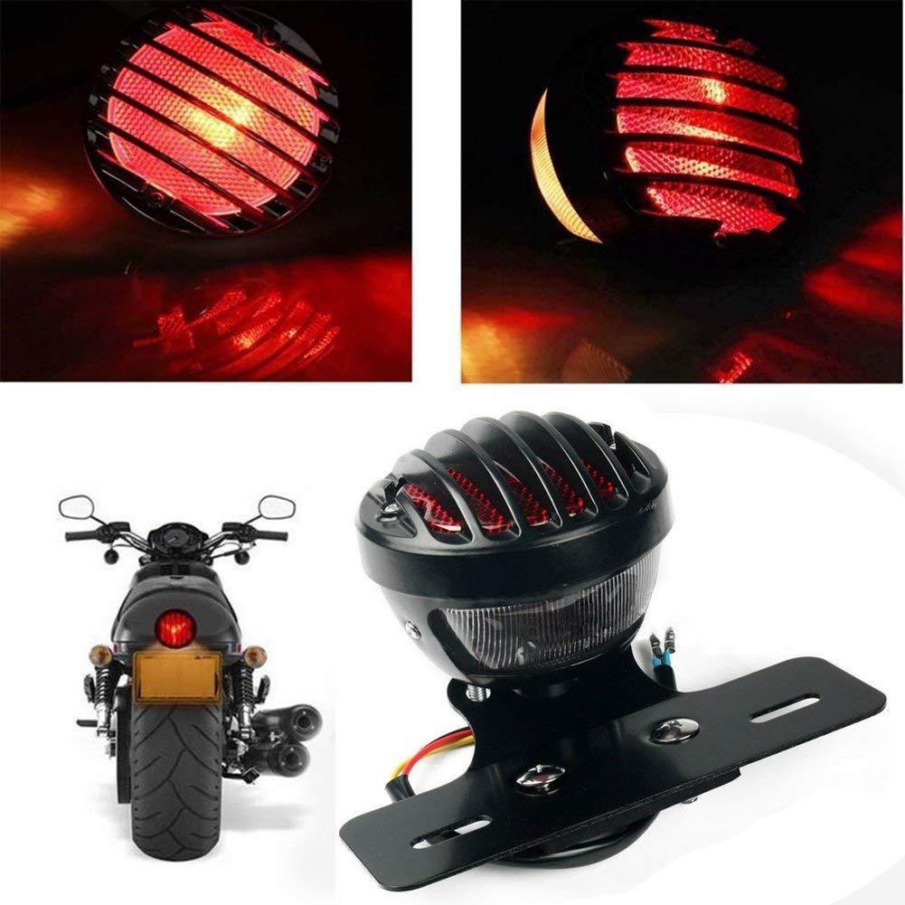 NATGIC 1/pz da Sella Posteriore Freno luci Targa Running luci lampade per Harley Cruiser Chopper/ /Rosso