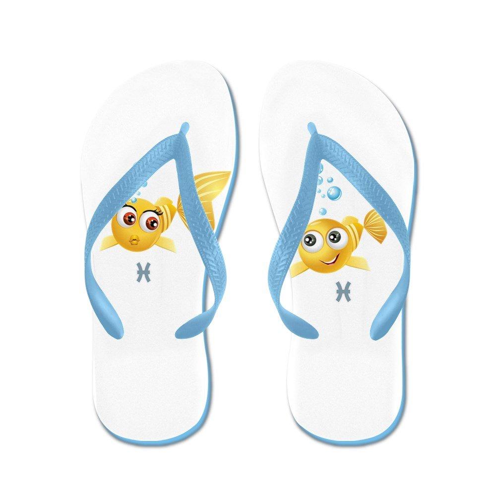 Truly Teague Mens SmileyFace Zodiac Pisces Rubber Flip Flops Sandals