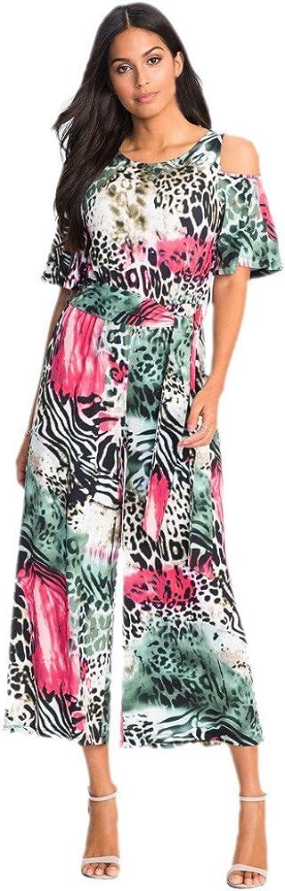 LISTHA Boho Floral Jumpsuit Women Half Sleeve Casual Loose Playsuit Long Pants