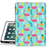 iPad 6th/5th Generation Case, Hocase Trifold Folio Smart Case with Apple Pencil Holder, Auto Sleep/Wake Feature, Soft TPU Back Cover for iPad A1893/A1954/A1822/A1823 - Pink Flamingo/Teal