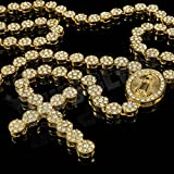 CS-DB 18K Gold Real Gold Plated CZ Iced Out ROSARY FLOWER Pendant Cross Jesus Men Necklace Hiphop Chain