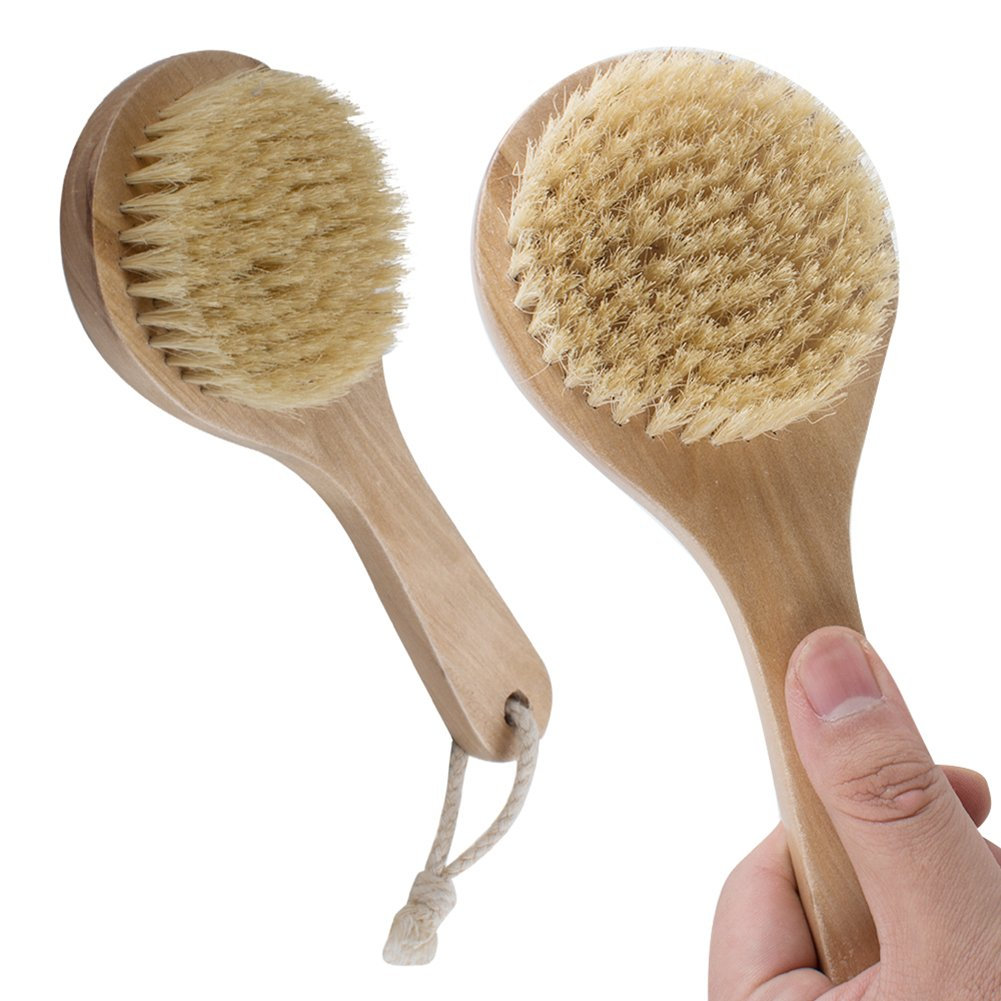 Zinnor Natural Boar Bristle Long Handle Wooden Bath Shower Body Back Brush Massager Spa Scrubber Skin Body Brush Exfoliating for Dry Brushing Shower Wood Handle (Wood Handle)