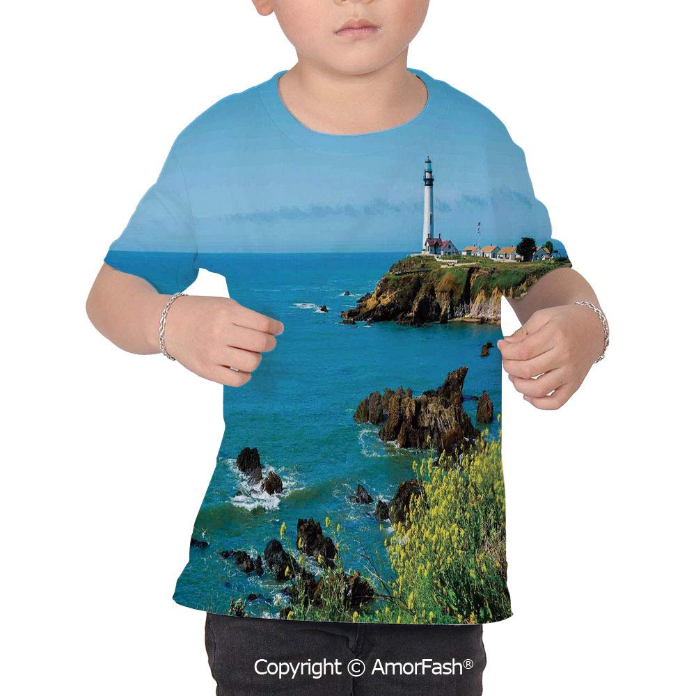 Lighthouse Decor Original Printed Short Sleeve Shirt Size XS-2XL Big,Pigeon Poin