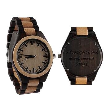 Amazon.com: Reloj de madera grabado personalizado para ...