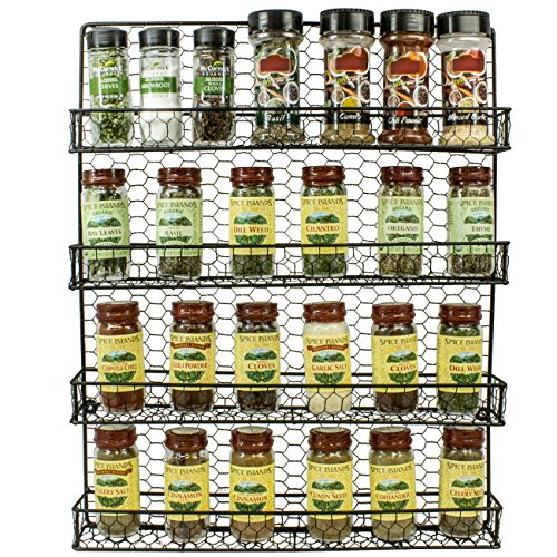 Sorbus Spice Rack and Multi-Purpose Organizer—Decorative 4 Tier Wall Mounted Storage Rack —Great for Storing Spices, Household items and More— Made of Steel (Black)
