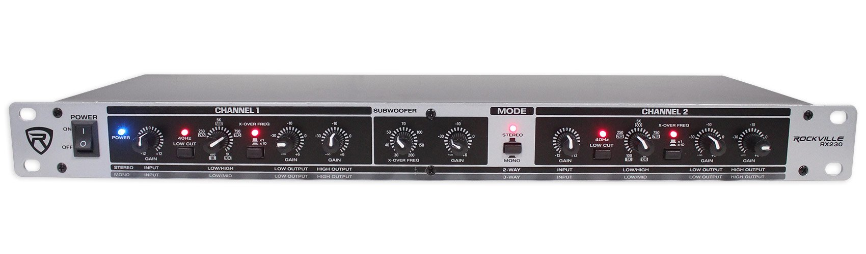Rockville RX230 2 Way Stereo/3 Way Mono Crossover with XLR Input and Output