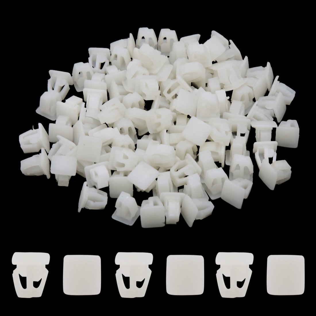 Amazon.com: eDealMax 100 piezas de plástico Blanco de remache Sujetador Mud Flaps parachoques Fender Clips 12mm: Automotive