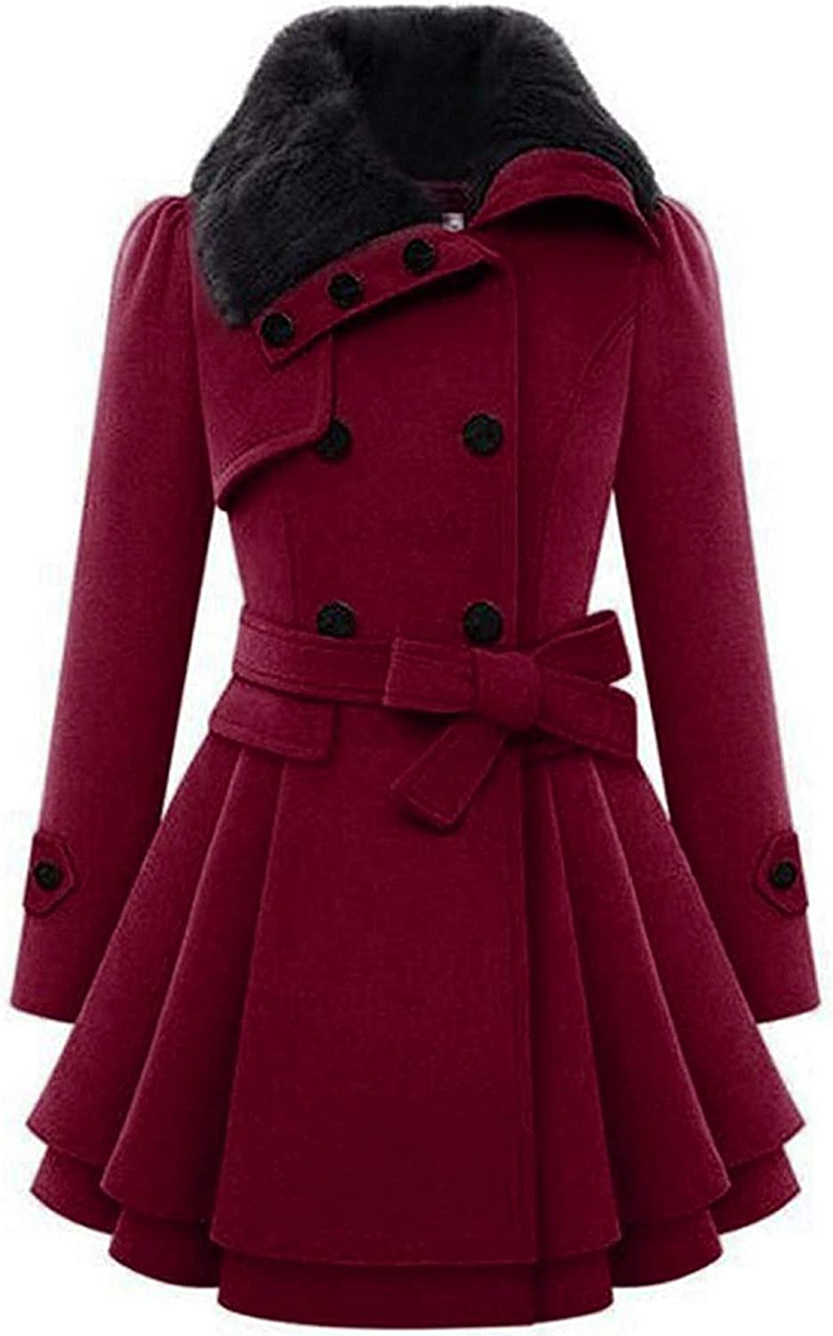 Chigant Womens Winter Pea Coat Double Breasted Coat Faux Fur Jacket Parka