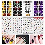 Halloween Nail Decals, ETEREAUTY Nail Stickers Decals Luminous and Nail Wraps with Halloween Designs, 8 Sheets