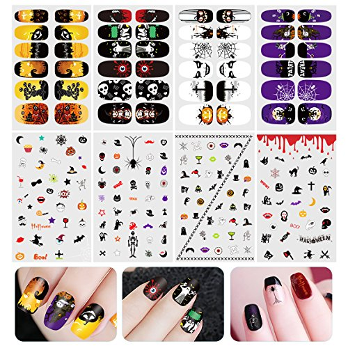 Halloween Nails (Halloween Nail Decals, ETEREAUTY Nail Stickers Decals Luminous and Nail Wraps with Halloween Designs, 8 Sheets)