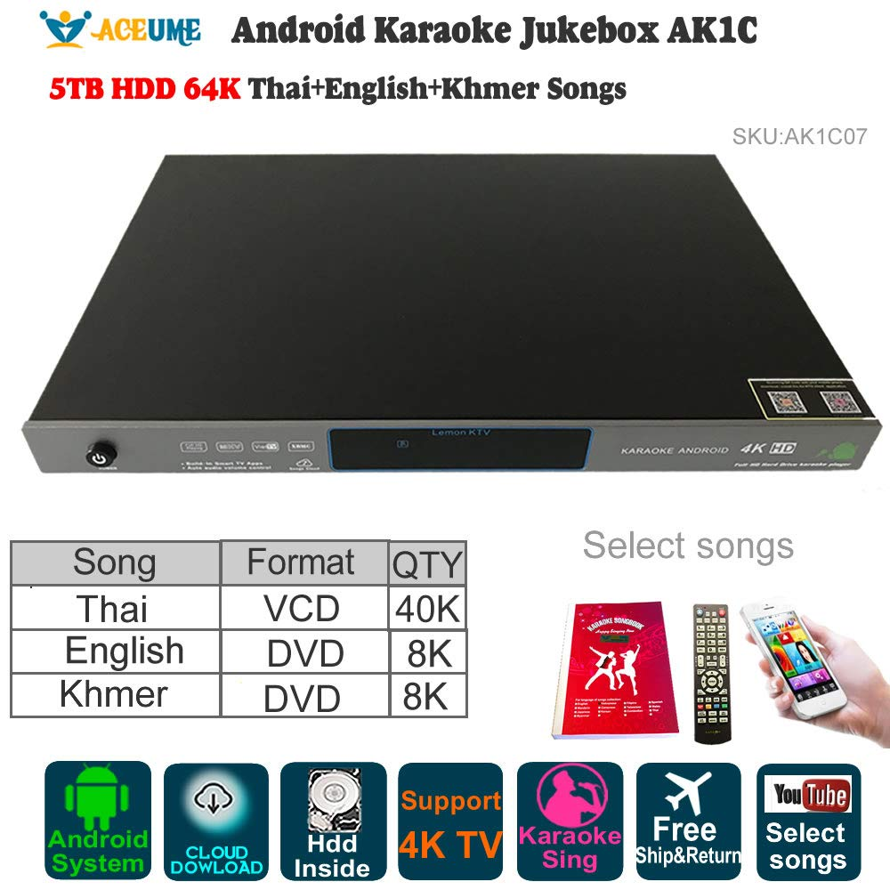 5TB HDD 64K Songs Thai, New Khmer/Cambodian DVD, NEW English Songs Android Karaoke Machine,Songs Player,Jukebox.YOUTUBÊ Songs supported