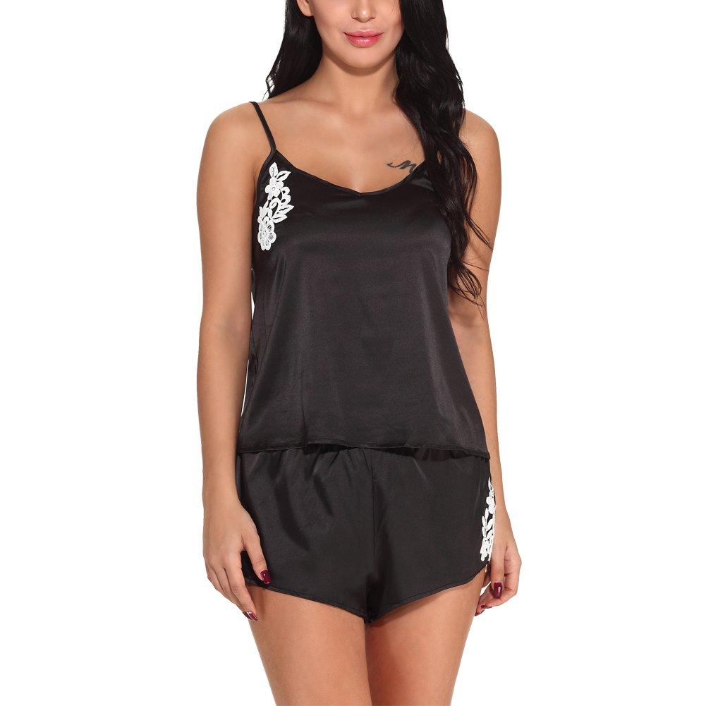 Oliveya Womens Sleepwear Sexy Lingerie Satin Pajamas Cami Shorts Set  Nightwear at Amazon Women s Clothing store  b14496d1a