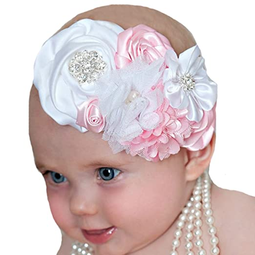 Amazon.com  Miugle Baby Baptism Headbands Baby Girls Christening ... 82cae6da4d9
