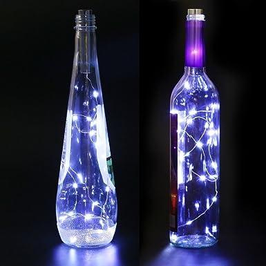 8x 20LEDs Luz de botella bricolaje 1m Lámparas de botellas Blanco frío fiestas: Amazon.es: Iluminación