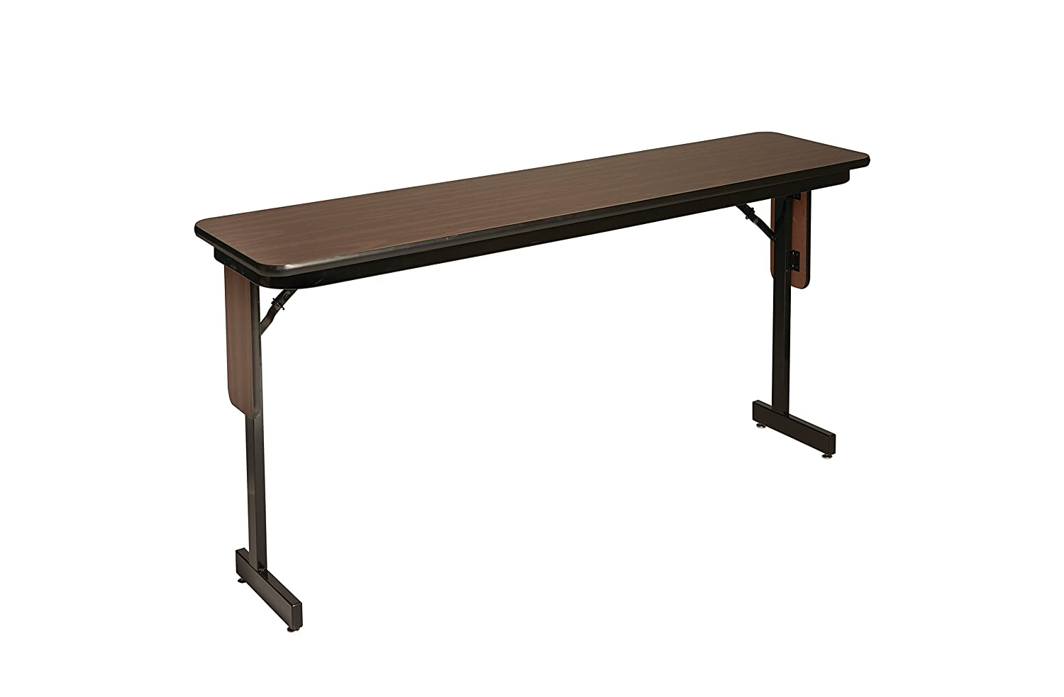 Correll SPA1860PX-01 Adjustable Height Folding Seminar Table with Panel Leg, Rectangular Top, 18 Height, 22-30 Wide, 60 Length, Walnut