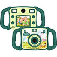 "Prograce Kids Camera Dual Selfie Camera 1080P HD Video Recorder Digital Action Camera Camcorder Boys Girls Gifts 2.0"" LCD Screen 4X Digital Zoom Funny Game(Green)"