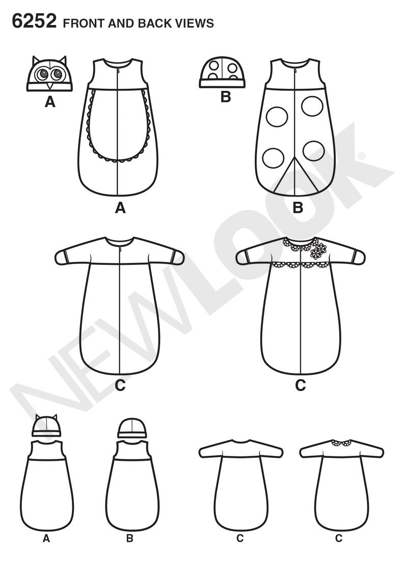 New Look Sewing Pattern NL6252 saco de dormir para bebé 22 x 15 cm: Amazon.es: Hogar
