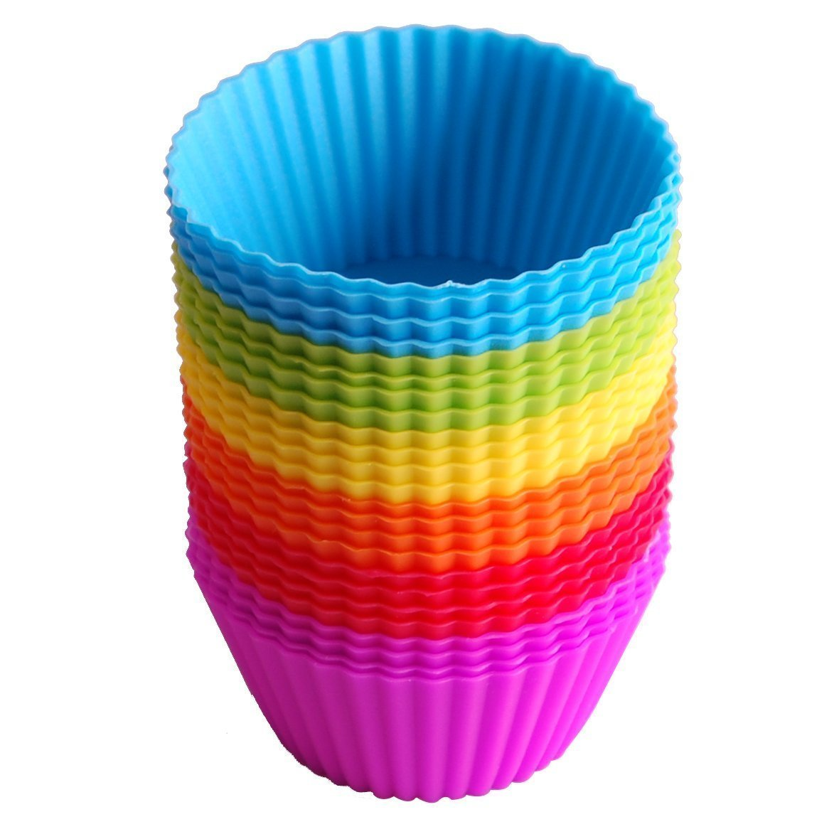 Cupcake Molds IdealHouse 24 Pack Silicone Reusable Baking Cases Muffin Molds Moulds Rainbow Cups for Cakes Ice Creams Puddings