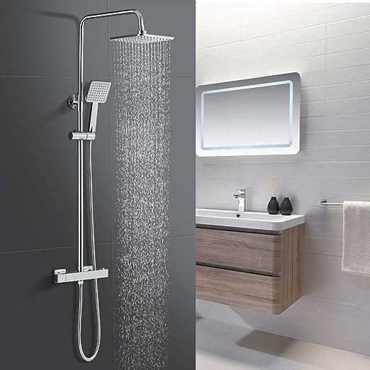 WOOHSE Columna de Ducha con termostato y Cabezal de ducha 20 x 20 ...