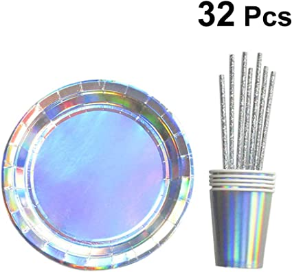 Amazon.com: Amosfun - Juego de 32 platos holográficos de ...