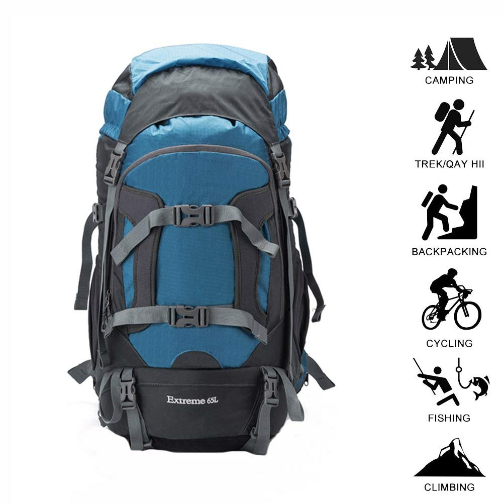 GAOFENG バックパック ハイキング 登山バッグ キャンプ トレッキング 旅行登山 リュックサック クライミング 荷物バッグ 屋外大容量軽量マルチファンクション 青 65L