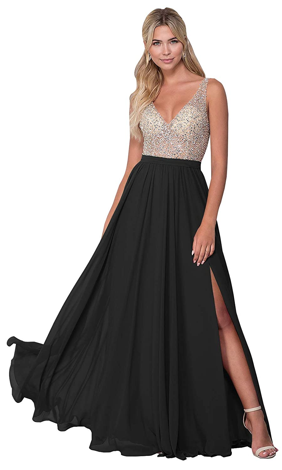 b11014cfed2 KKarine Women s Sexy V Neck Open Back Beaded Chiffon Prom Dress Long Slit Formal  Evening Gown at Amazon Women s Clothing store