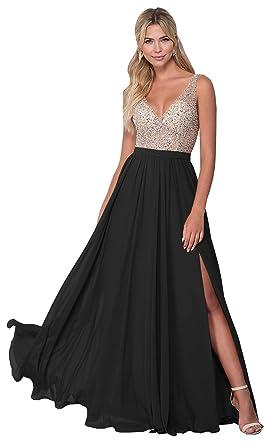 9b46b66f08 KKarine Women s A Line V Neck Beaded Evening Prom Dress Long Slit Ball Gown  (2