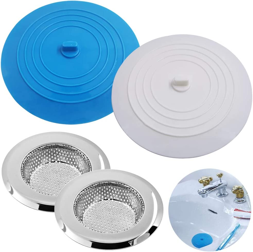 Silicone Tub Bathtub Stopper Drain Plug Sinks Strainer Flat Cover Kitchen Basin