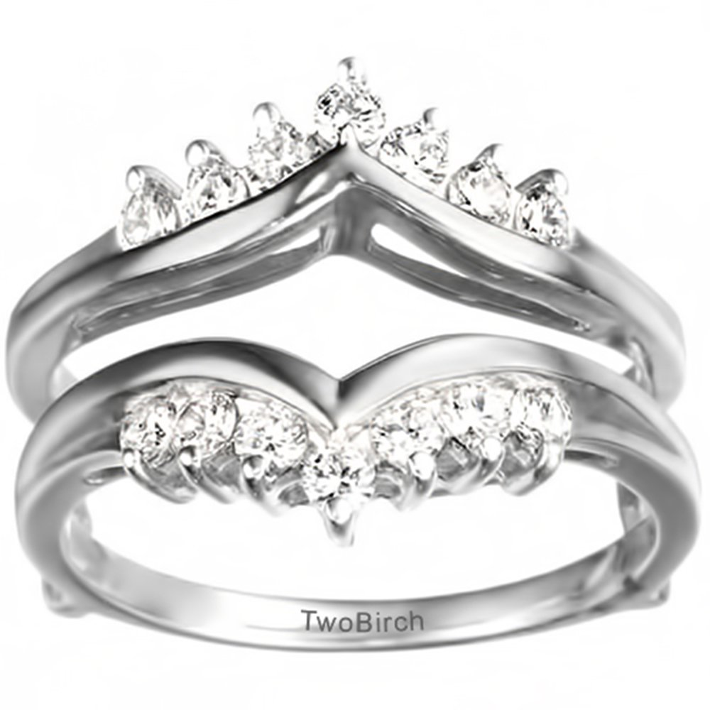 1/4 ct. Diamonds (G-H,I2-I3) Traditional Style Chevron Style Ring Guard in Sterling Silver (0.25 ct. twt.)