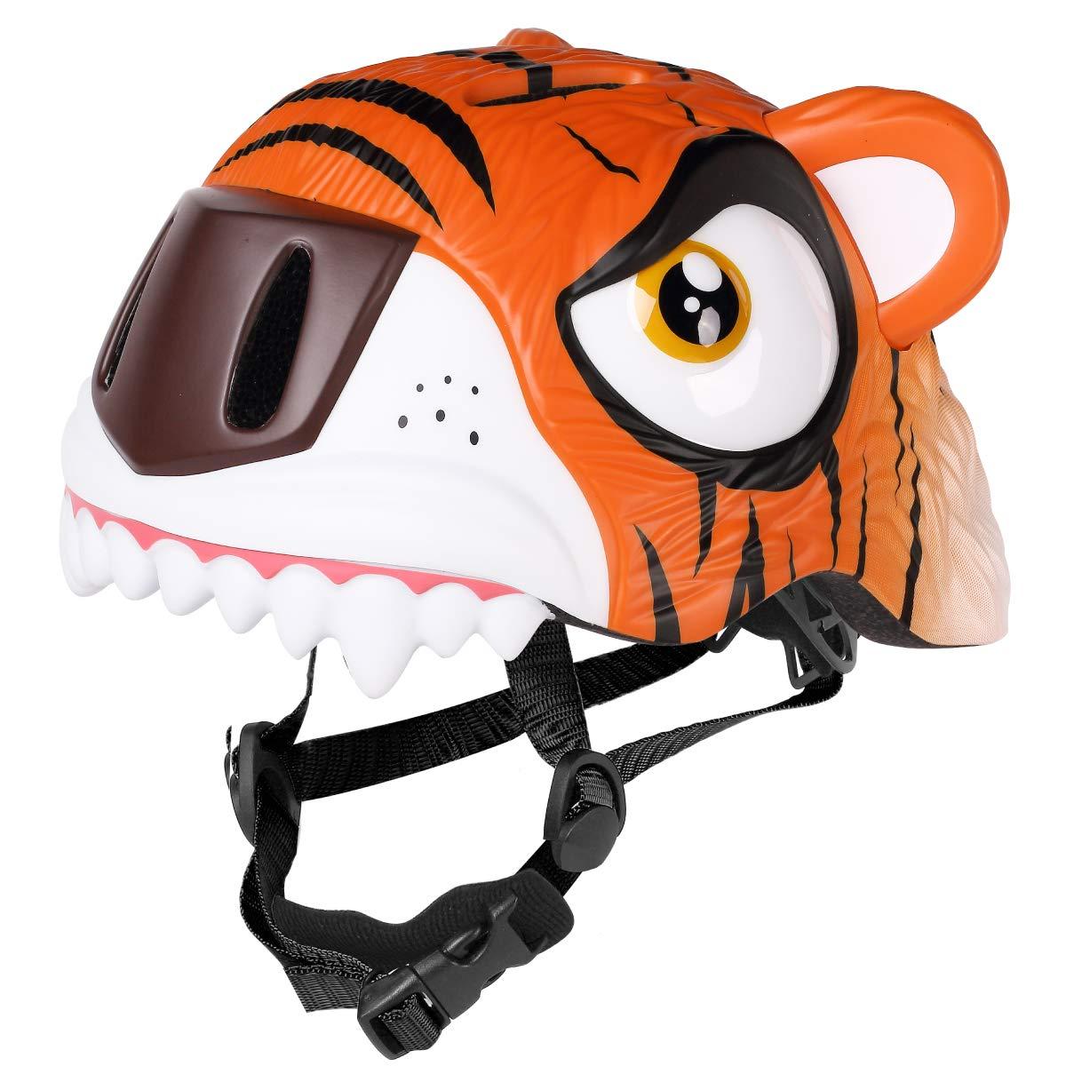 M Merkapa Kids Bike Helmet Adjustable 3D Shark Bicycle Helmets for Toddler and Youth (Tiger)